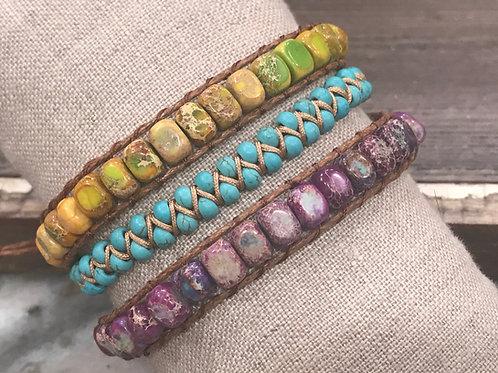 Sea Sediment Stone Passion Triple Wrap Bracelet
