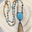 Thumbnail: Turquoise and Picture Jasper Necklace with Beaded Rosary Chain