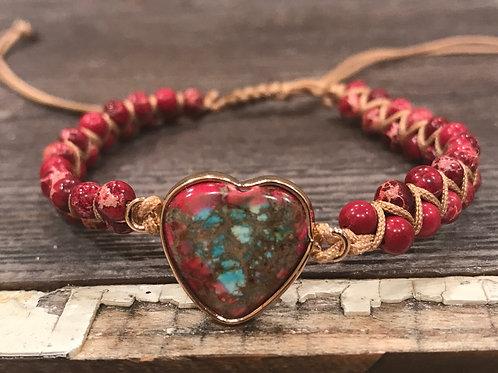 Heart Ruby Impression Jasper Bracelet