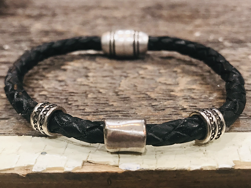 Men's Braided Leather bracelet with Silver Sliders