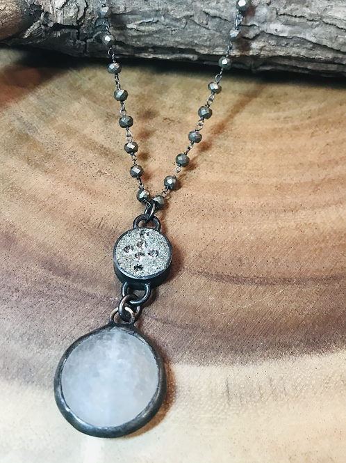 Pyrite Cross Connector with White Agate Drop Necklace