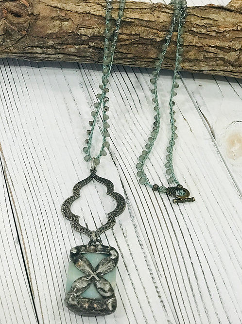 Soldered Cross Amazonite Pendant with Beaded Crocheted Necklace