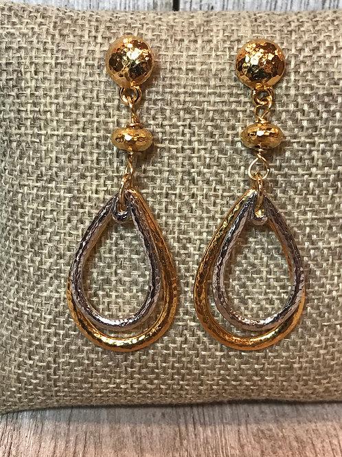 Gold/Silver Mixed Metal Hoop Post Earrings