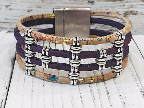 Multi strand Violet and Fleck Portuguese Cork Bracelet