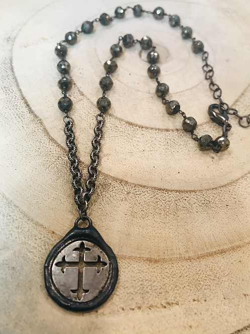 Cut out Metal Cross Necklace with Pyrite Chain