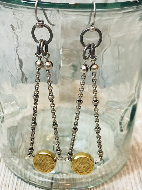 Gold Disc Earrings with Silver Satellite Chain