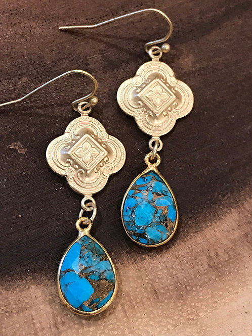 Gold bezeled Turquoise Earrings
