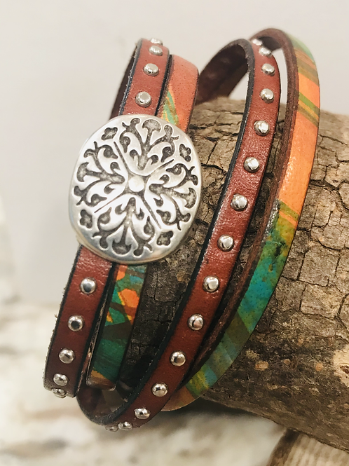 Wrap leather bracelet with magnetic clasp