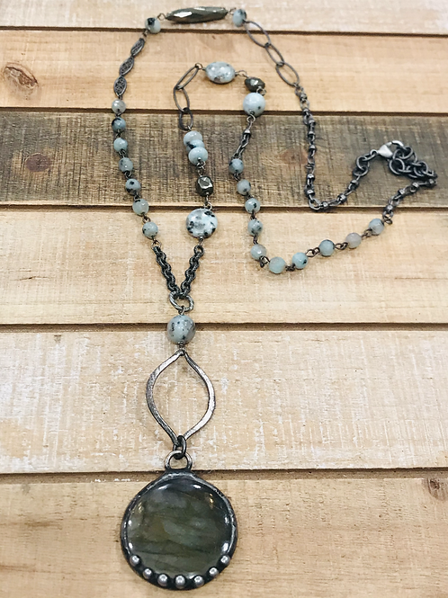 Soldered Labadorite Round Pendant with Sesame Jasper Rosary Chain