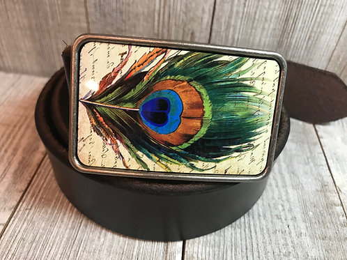 Peacock feather belt buckle
