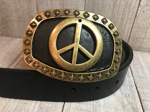 Brass peace symbol with black leather buckle