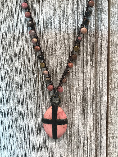 Pink Cross with Crocheted Necklace