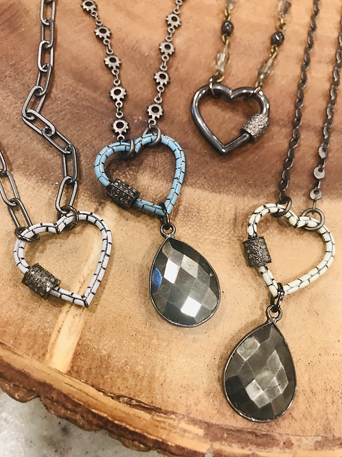 Enamel Heart Necklaces with Carabiner Clasp