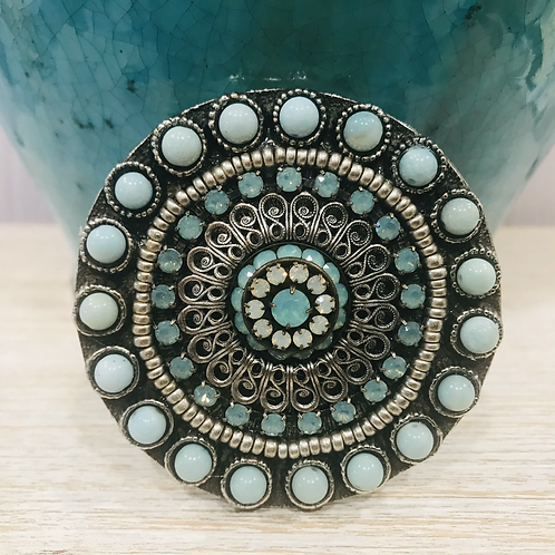Rustic Oval Amazonite Belt Buckle With Opal CrystalFiligree