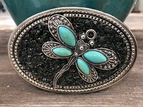 Oval dragonfly belt buckle