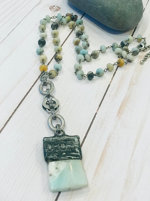 Amazonite Soldered Pendant with Black/Gold Rosary Chain