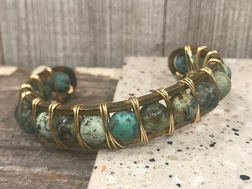 Gold frame cuff w/ wire wrapped african turq beads