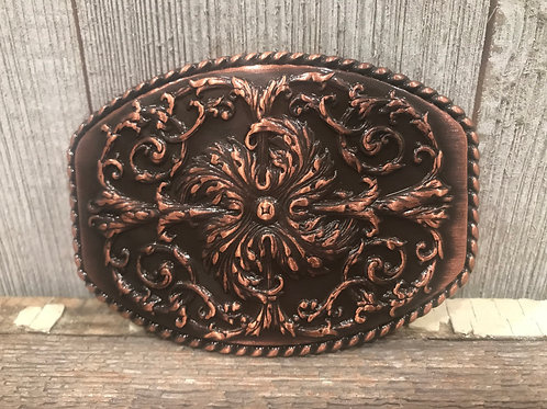 Copper Patina floral stamped design buckle