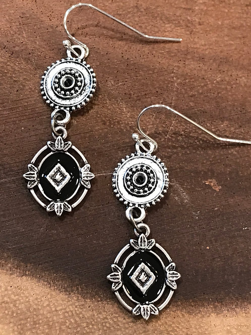Antique Silver Connector and Black Enamel Earrings