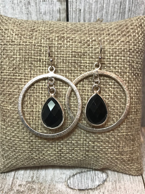 Silver Hoop Earring with Black Onyx Teardrop