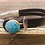 Thumbnail: Mosaic Turquoise Leather Silver Bar Bracelet