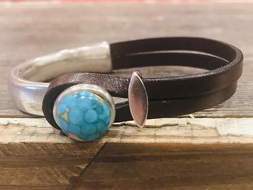 Mosaic Turquoise Leather Silver Bar Bracelet