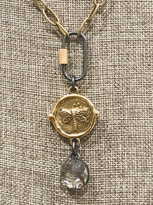 Matte Gold Bee Pendant with Crystal Drop and Carabiner Clasp