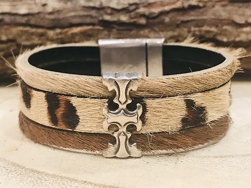 Three Strand Animal Print Cuff Bracelet