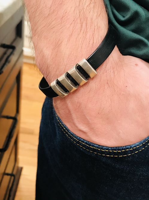 Men's Leather Bar Bracelet