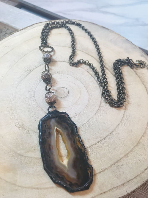 Brown Agate Slice with Tibetan Beads and Brass Chain