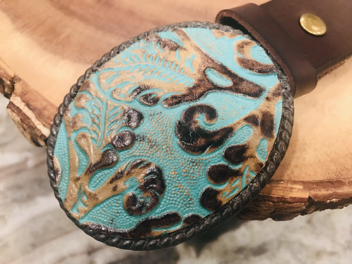Turquoise Leather Embossed Belt Buckle