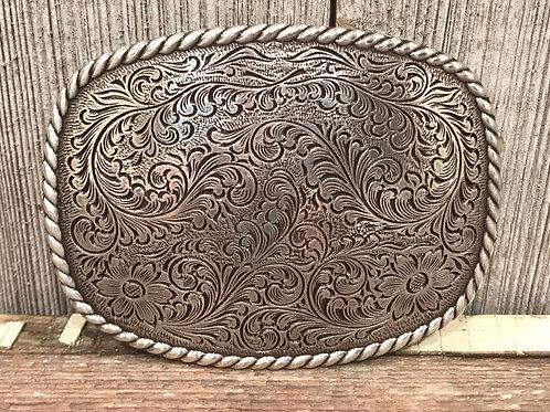 Western Rope Edge Engraved Belt Buckle