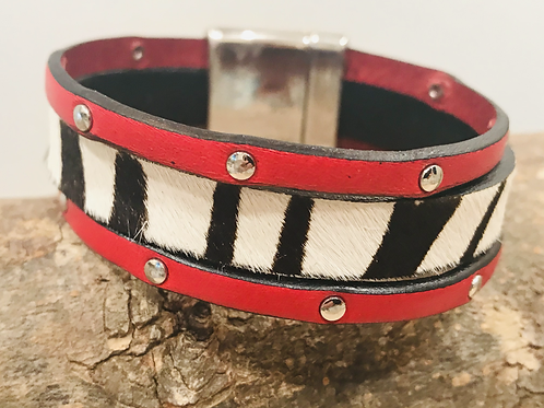 Zebra fur and red leather cuff with silver slider and magnet clasp