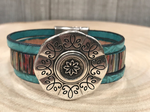 Multi Shimmery leather cuff with silver flower slider & magnet clasp