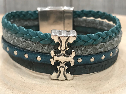 Multi teal leather strand cuff with silver slider & magnet clasp