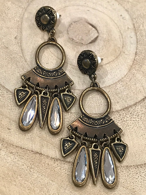 Brass Chandelier Earrings with Crystal Bezel
