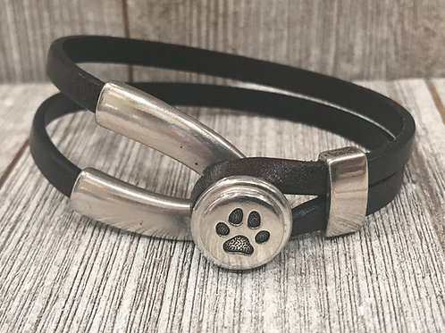 Silver paw wishbone clasp with leather