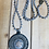 Thumbnail: Light Blue Beaded Brass Button with Crochet Necklace
