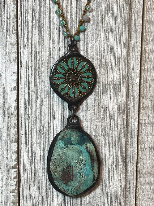 Crysocolla Pendant Necklace with Filigree Connector & Crochet Chain