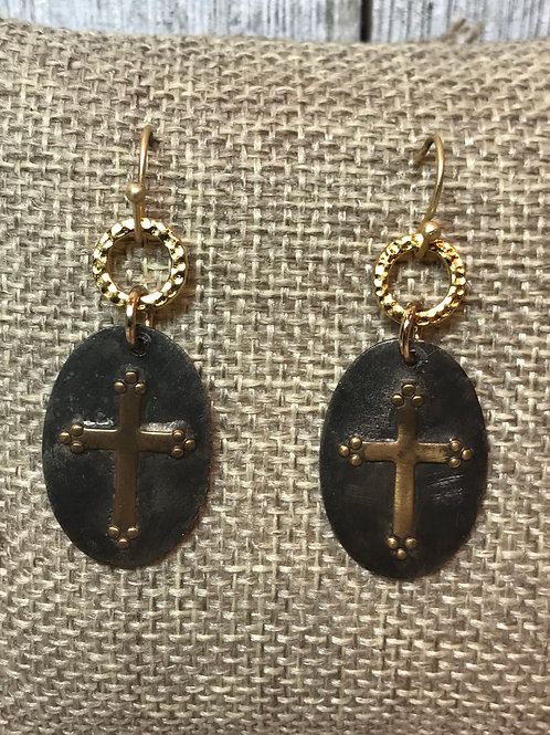 Soldered Brass Cross on Pewter Tag Earrings