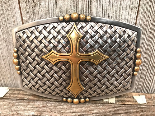 Basketweave silver buckle with gold cross
