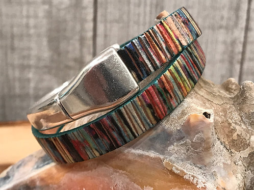 Double wrap shimmer leather cuff bracelet