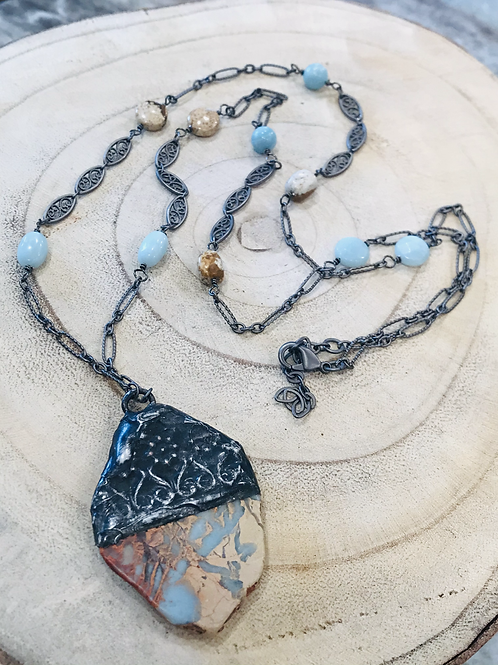 African Opal Bezeled Pendant with Gunmetal chain, Amazonite/Picture Jasper