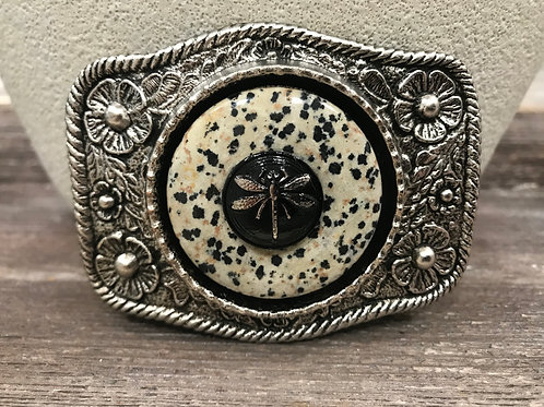 Antique silver belt buckle with black dragonfly