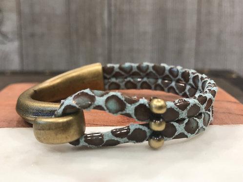 Leather Snakeskin Antique Gold Hook Bracelet