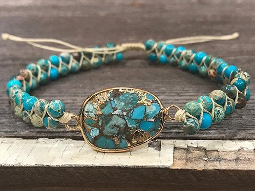 Turquoise Beaded Gold Bezel Bracelet