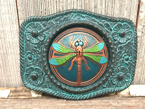Patina belt buckle with Dragonfly