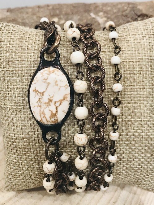 Magnesite stone multi chain wrap with lobster clasp