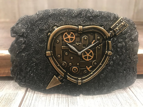 Heart watch face belt buckle on black lava base