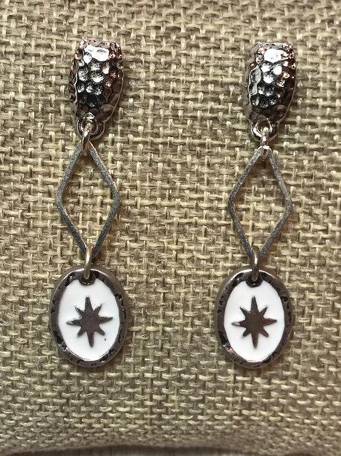 White Enamel and Silver Earrings